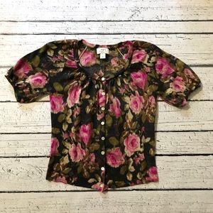 LOFT floral button sweater medium petite